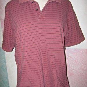 Salmon Pink Navy Stripe Short Sleeve Polo Shirt XL